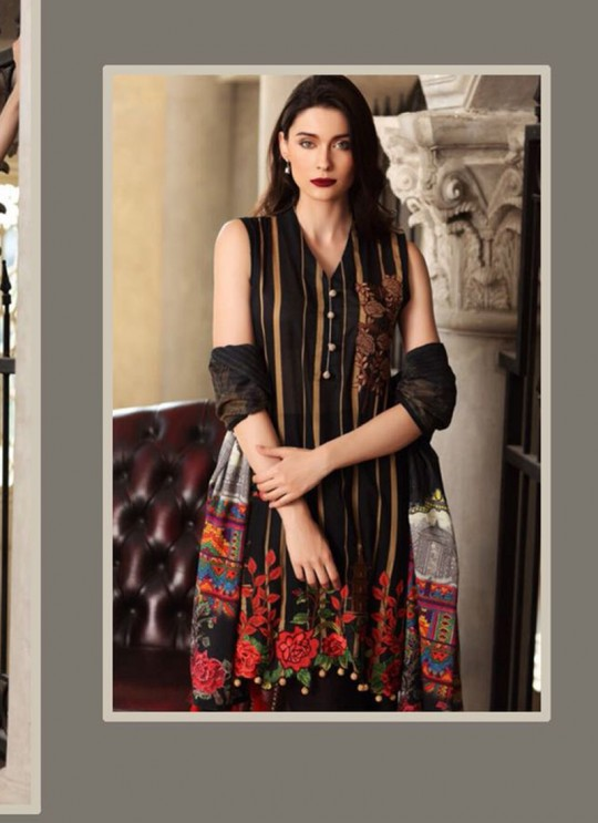 Black Cambric Cotton Embroidered Pakistani Salwar Suit ROSEMEEN RIMZIM BY FEPIC 1001 TO 1007 SERIES Fepic 1007