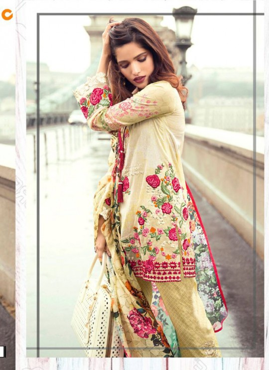 Beige Cambric Cotton Embroidered Pakistani Salwar Suit ROSEMEEN LAWN ART BY FEPIC 16001 TO 16007 SERIES Fepic 16001