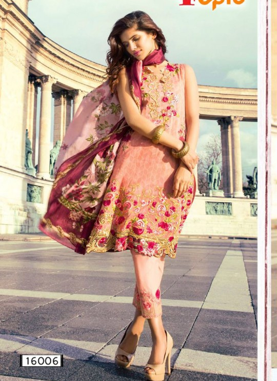 Pink Cambric Cotton Embroidered Pakistani Salwar Suit ROSEMEEN LAWN ART BY FEPIC 16001 TO 16007 SERIES Fepic 16006
