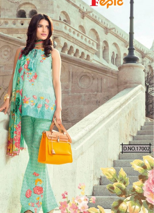 Green Cambric Cotton Embroidered Pakistani Salwar Suit ROSEMEEN CRAFTED LAWN BY FEPIC 17001 TO 17006 SERIES Fepic 17002