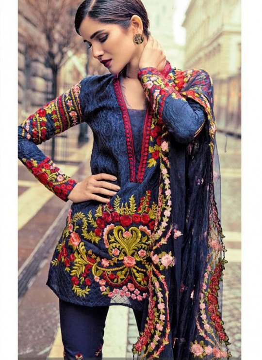 Blue Cambric Cotton Embroidered Pakistani Salwar Suit ROSEMEEN CRAFTED LAWN BY FEPIC 17001 TO 17006 SERIES Fepic 17006
