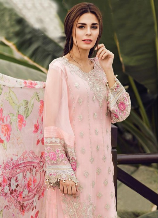 Pink Faux Georgette Embroidered Pakistani Salwar Suit ROSEMEEN CRINKLES BY FEPIC 18001 TO 18009 SERIES Fepic 18007
