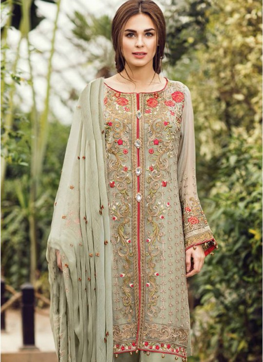 Grey Faux Georgette Embroidered Pakistani Salwar Suit ROSEMEEN CRINKLES BY FEPIC 18001 TO 18009 SERIES Fepic 18009