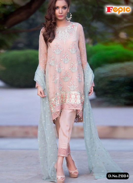 Pink Georgette Embroidered Pakistani Salwar Suit ROSEMEEN ART BY FEPIC 2001 TO 2006 SERIES Fepic 2004