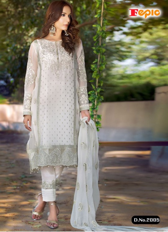 Off White Georgette Embroidered Pakistani Salwar Suit ROSEMEEN ART BY FEPIC 2001 TO 2006 SERIES Fepic 2005