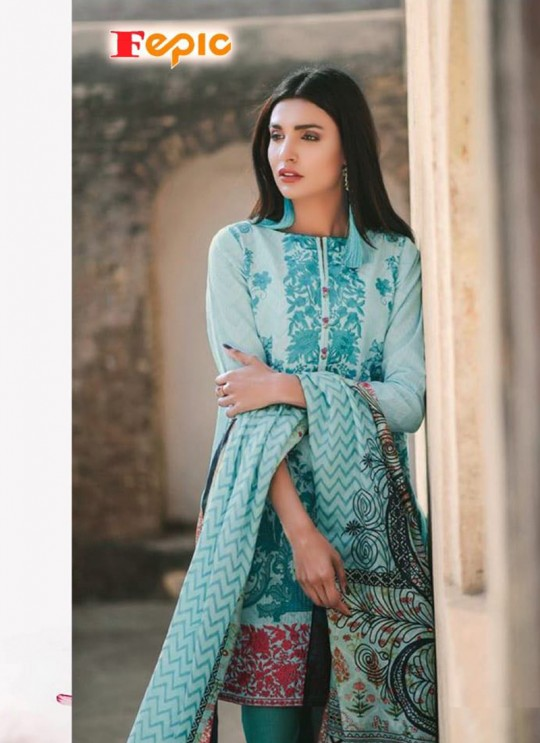 Blue Cambric Cotton Embroidered Pakistani Salwar Suit ROSEMEEN ELITE LAWN BY FEPIC 22001 TO 22005 SERIES Fepic 22005