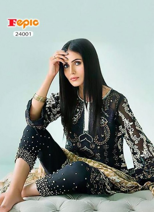 Black Organza Embroidered Pakistani Salwar Suit ROSEMEEN CRYSTALS BY FEPIC 24001 TO 24005 SERIES Fepic 24001