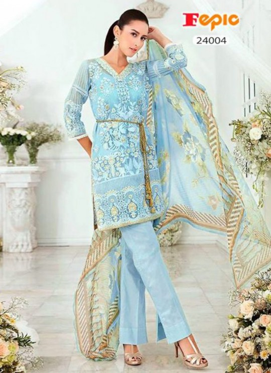 Ice Blue Organza Embroidered Pakistani Salwar Suit ROSEMEEN CRYSTALS BY FEPIC 24001 TO 24005 SERIES Fepic 24004