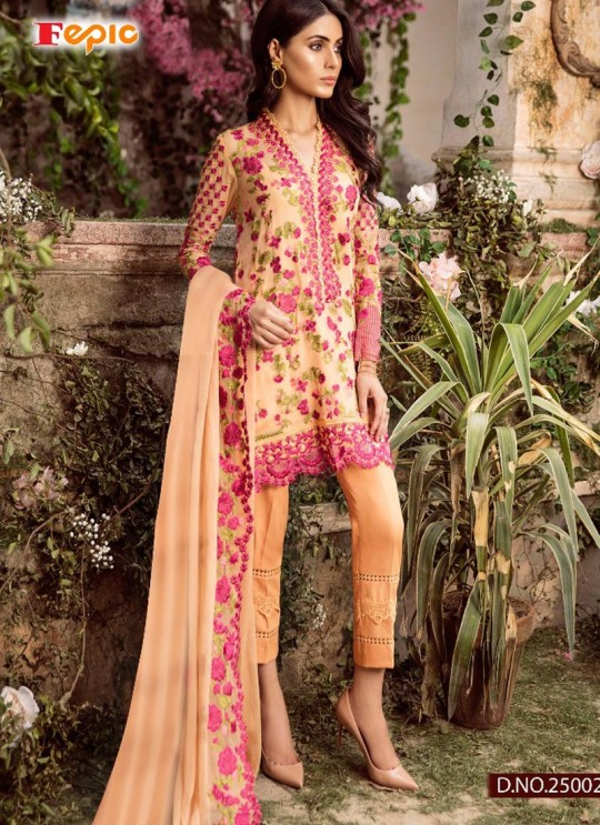 Beige Georgette Embroidered Pakistani Salwar Suit ROSEMEEN CRAVINGS BY FEPIC 25001 TO 25004 SERIES Set Fepic 25002