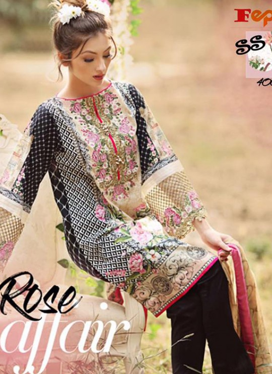 Black Cambric Cotton Printed Pakistani Salwar Suit ROSEMEEN SUMMER SPRING 4001 TO 4007 SERIES Fepic 4002