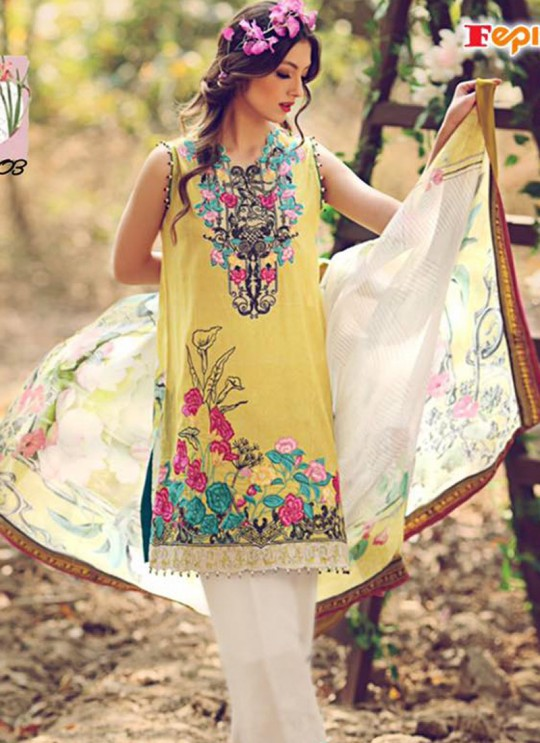 Yellow Cambric Cotton Printed Pakistani Salwar Suit ROSEMEEN SUMMER SPRING 4001 TO 4007 SERIES Fepic 4003