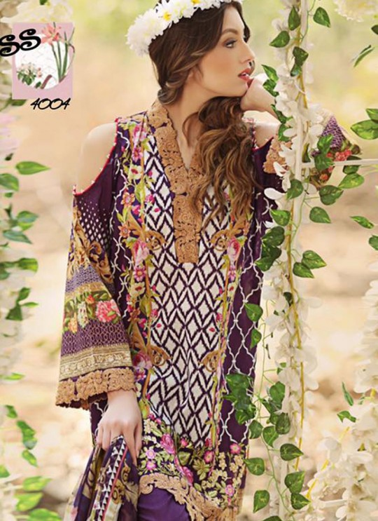 Purple Cambric Cotton Printed Pakistani Salwar Suit ROSEMEEN SUMMER SPRING 4001 TO 4007 SERIES Fepic 4004