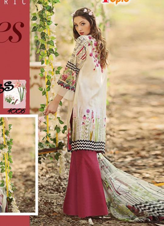Cream Cambric Cotton Printed Pakistani Salwar Suit ROSEMEEN SUMMER SPRING 4001 TO 4007 SERIES Fepic 4005