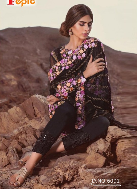 Black Faux Georgette Embroidered Pakistani Salwar Suit ROSEMEEN EID COLLECTION 6001 TO 6006 SERIES Fepic 6001