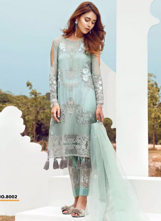 Ice Blue Georgette Embroidered Pakistani Salwar Suit ROSEMEEN CRAFT BY FEPIC 8001 TO 8008 SERIES Fepic 8002
