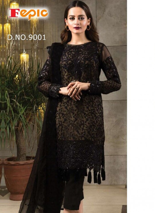 Black Georgette Embroidered Pakistani Salwar Suit ROSEMEEN FORTUNA BY FEPIC 9001 TO 9006 SERIES Fepic 9001