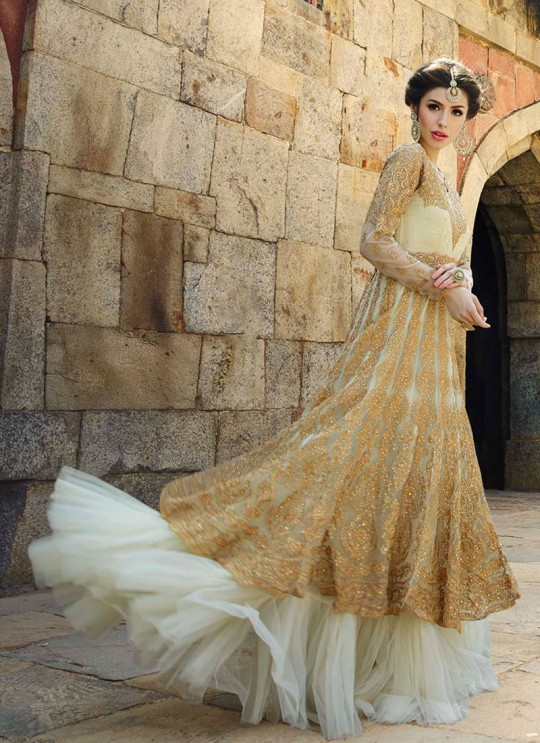 Off-white Net Gown Style Anarkali 12001 Series 12006 By Glossy