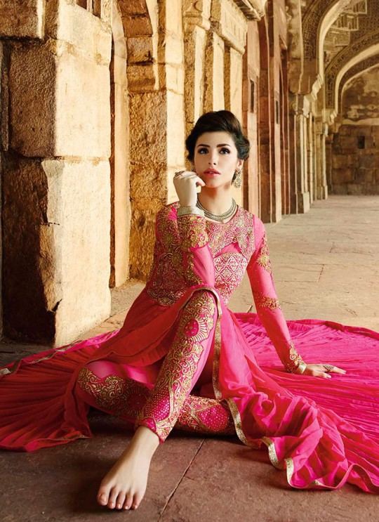 Magenta Satin Georgette Pant Style Suit 12001 Series 12007 By Glossy