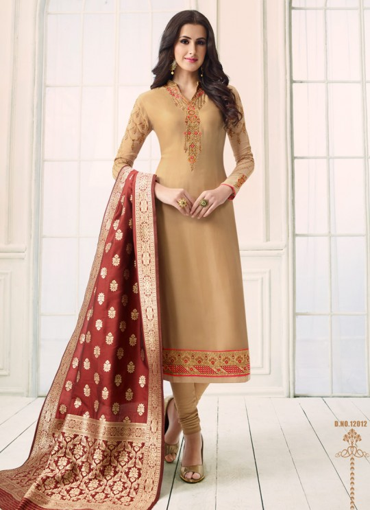 Gold Satin Georgette Straight Suit SIMAR SHABANA 12012 By Glossy