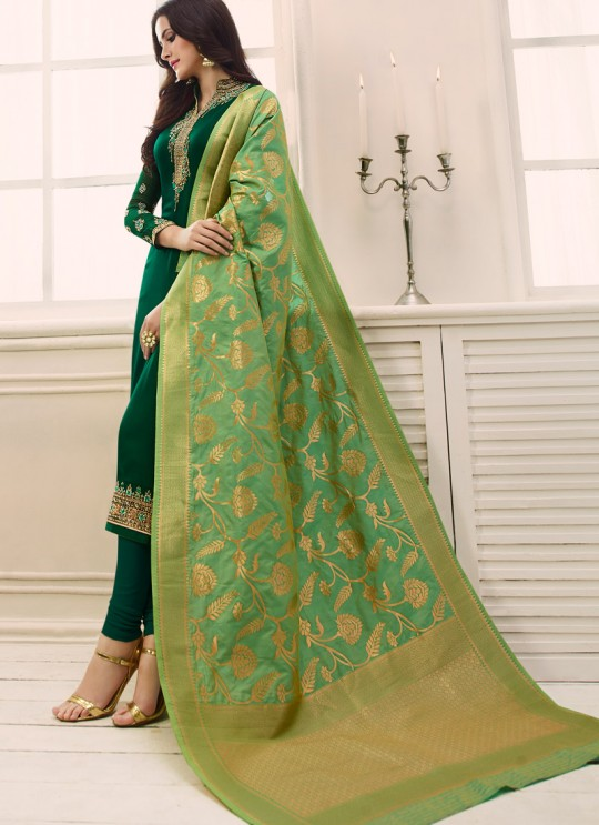 Green Satin Georgette Straight Suit SIMAR SHABANA 12013 By Glossy