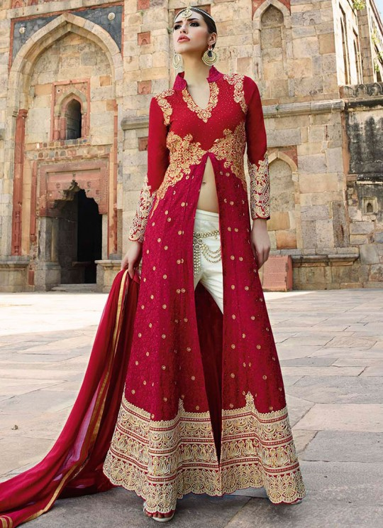 Maroon Georgette Pant Style Suit 12001 Series 12001 By Glossy