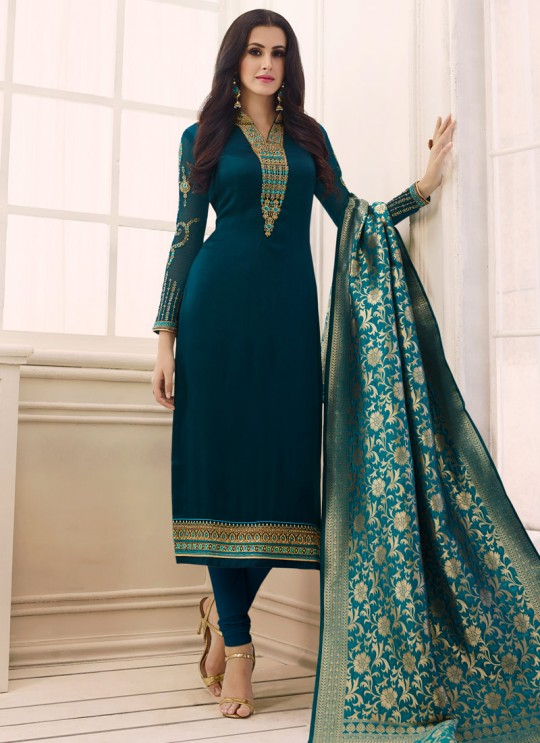 Blue Satin Georgette Straight Suit SIMAR SHABANA 12006 By Glossy Full Set