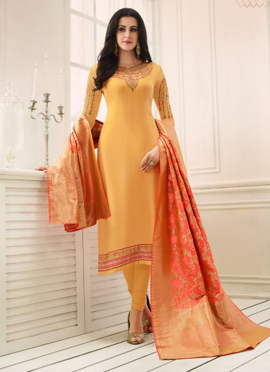 Yellow Satin Georgette Straight Suit SIMAR SHABANA 12009 By Glossy