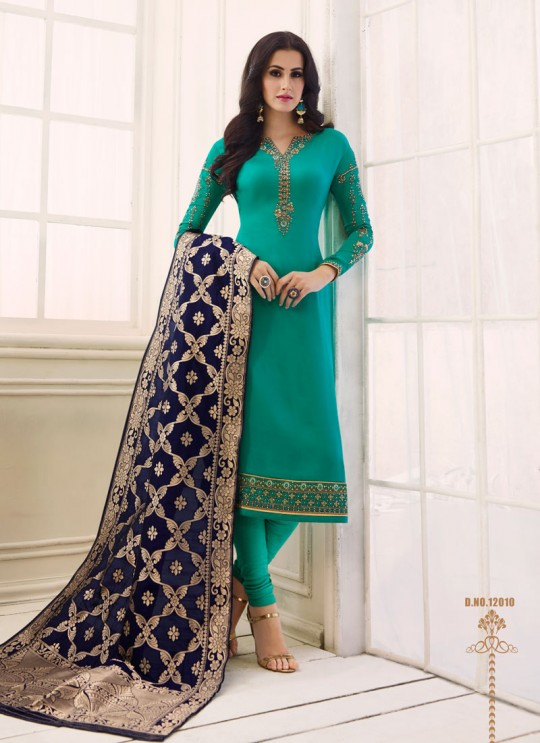 Teal Green Satin Georgette Straight Suit SIMAR SHABANA 12006 By Glossy Full Set
