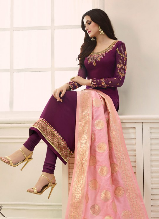 Magenta Satin Georgette Straight Suit SIMAR SHABANA 12006 By Glossy Full Set