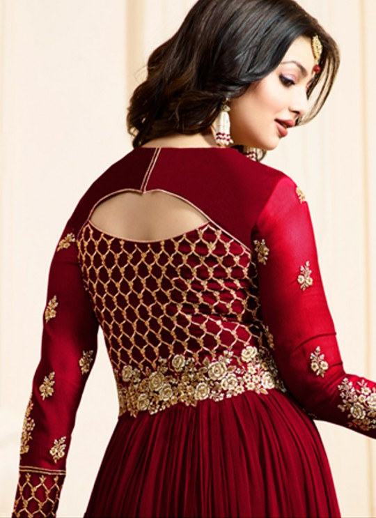 Maroon Georgette Floor Length Anarkali SIMAR VOL-10 17001C Color By Glossy