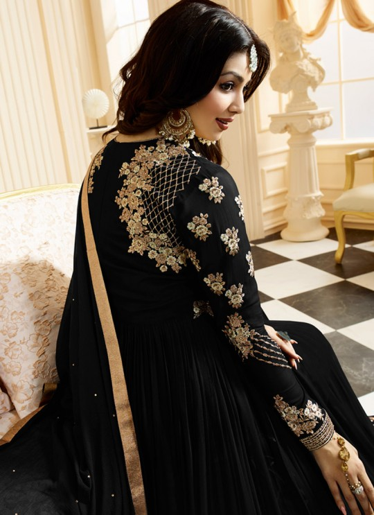 Black Georgette Floor Length Anarkali SIMAR VOL-10 17003D Color By Glossy