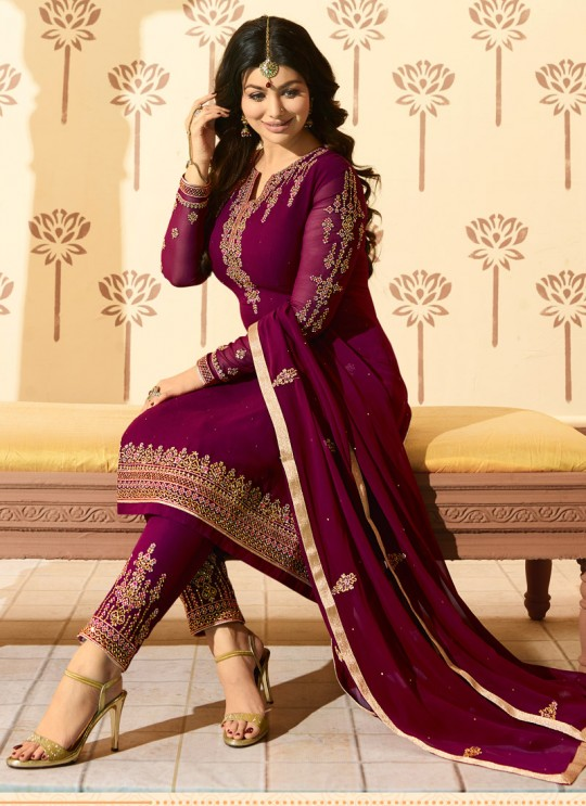 Magenta Faux Georgette Pant Style Suit MINAZ Vol-2 225 By Glossy