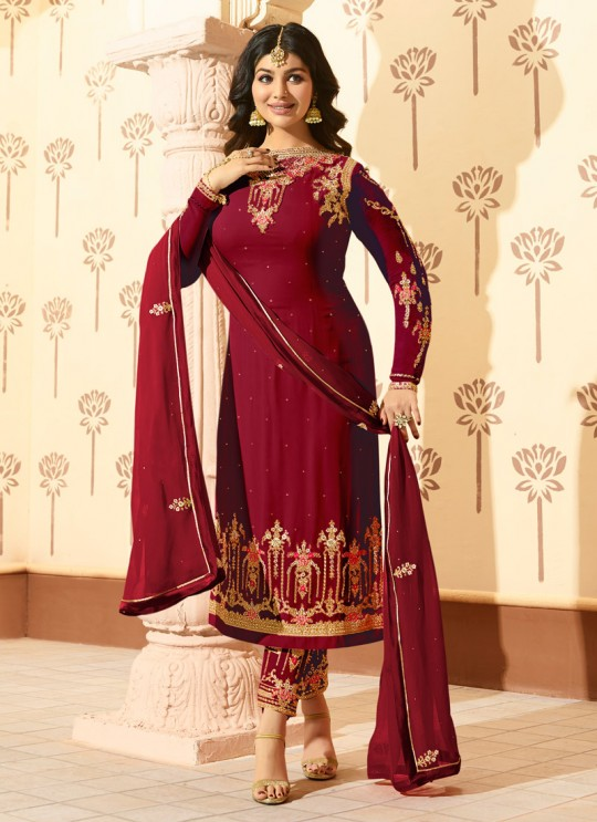Maroon Faux Georgette Pant Style Suit MINAZ Vol-2 227 By Glossy