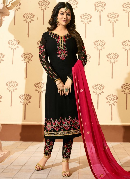 Black Faux Georgette Pant Style Suit MINAZ Vol-2 229 By Glossy
