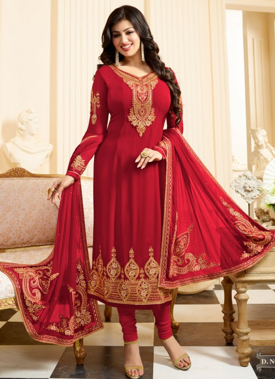 Red Georgette Straight Suit SUZEN 25101 By Glossy