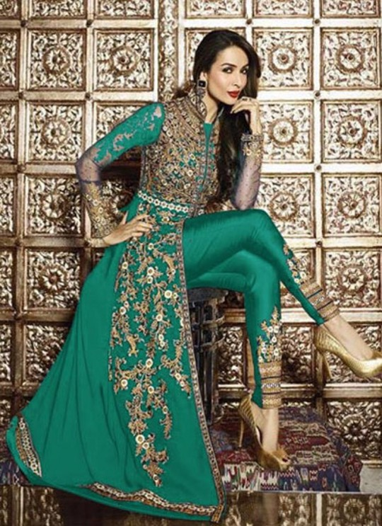 Green Faux Georgette Pant Style Suit 621  Series 626 Green Color By Glossy