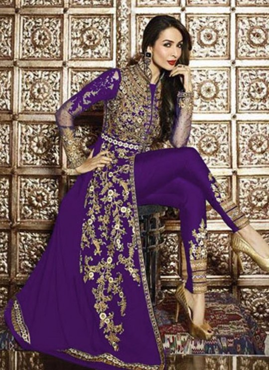 Purple Faux Georgette Pant Style Suit 621  Series 626 Purple Color By Glossy