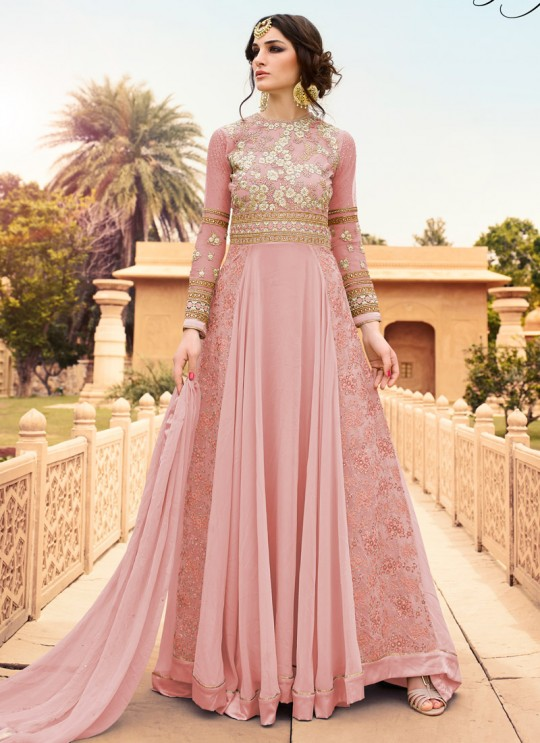 Pink Georgette Floor Length Anarkali Rhythm 7108A Color By Glossy