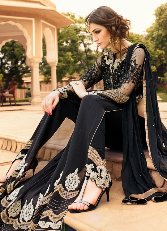 Black Georgette Floor Length Anarkali Rhythm 7109 By Glossy