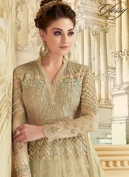 Beige Net Floor Length Anarkali SAPPHIRA Vol-2 7278 By Glossy