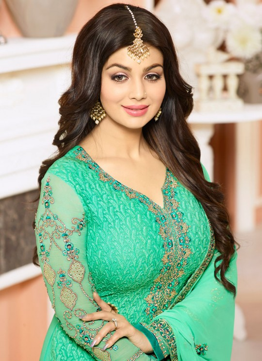 Green Georgette Churidar Suit SHEENAZ 802 By Glossy