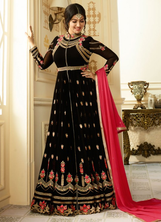 Black Georgette Floor Length Anarkali AYESHA SIMAR 9012 By Glossy