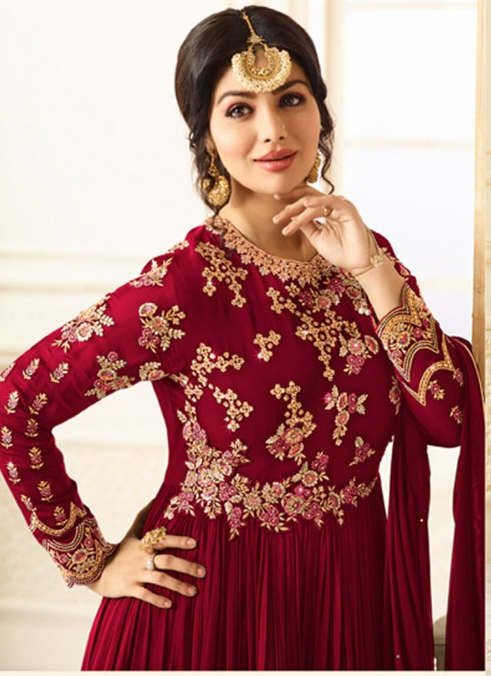 Maroon Georgette Floor Length Anarkali AYESHA SIMAR 9016A Color By Glossy