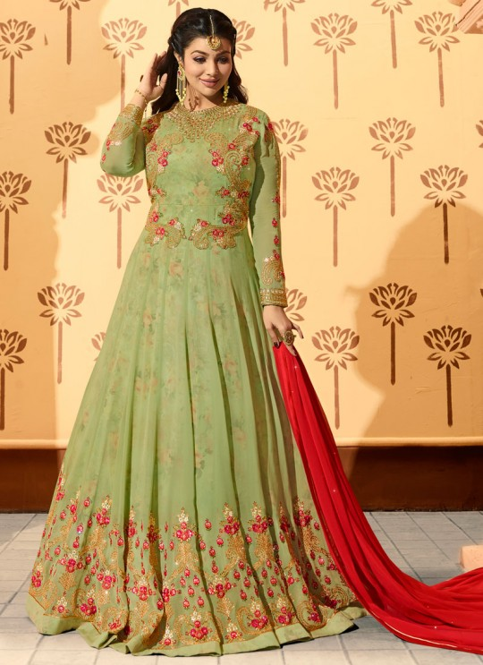 Green Georgette Floor Length Anarkali AYESHA Vol-2 9020 By Glossy