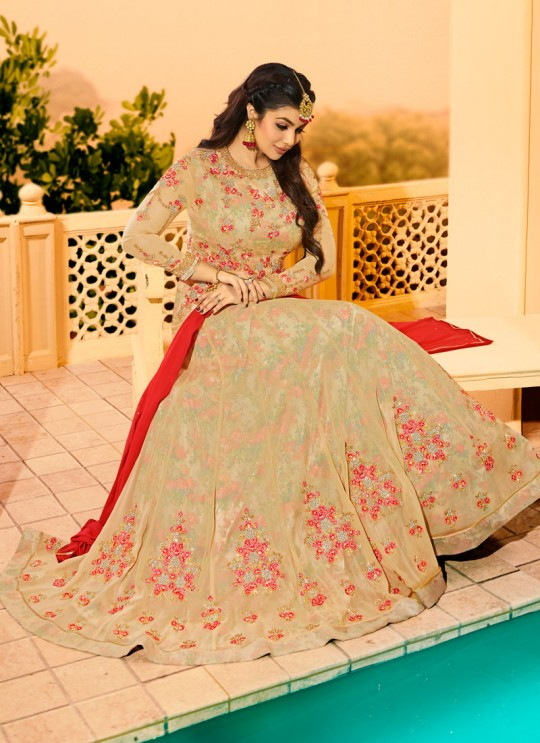 Gold Georgette Floor Length Anarkali AYESHA Vol-2 9021 By Glossy