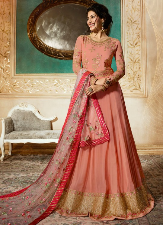 Peach Georgette Floor Length Anarkali AMYRA 9084 By Glossy