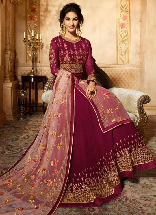 Magenta Georgette Floor Length Anarkali AMYRA 9087 By Glossy