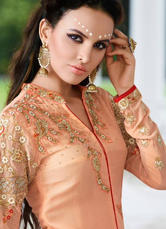 Peach Georgette Pant Style Suit VOGUISH 9804 By Glossy