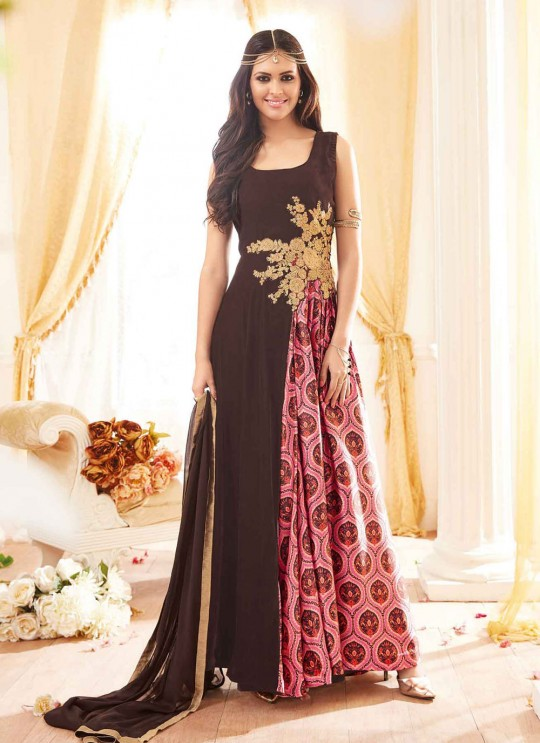 Brown Georgette Gown Style Anarkali Seep-2 3903 By Maisha