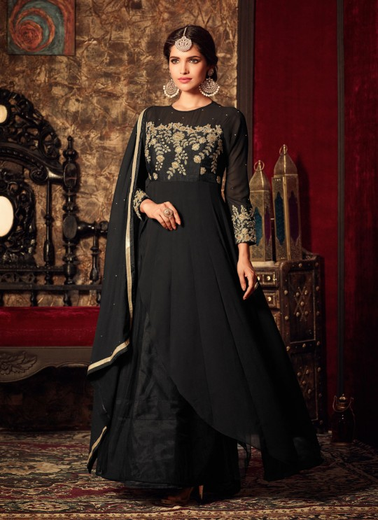 Black Georgette Gown Style Anarkali Roza 4404 By Maisha